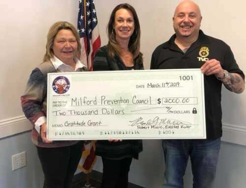 Milford Elks' Lodge #1589 Recognized for Awarding National Gratitude Grant to Milford Prevention Council